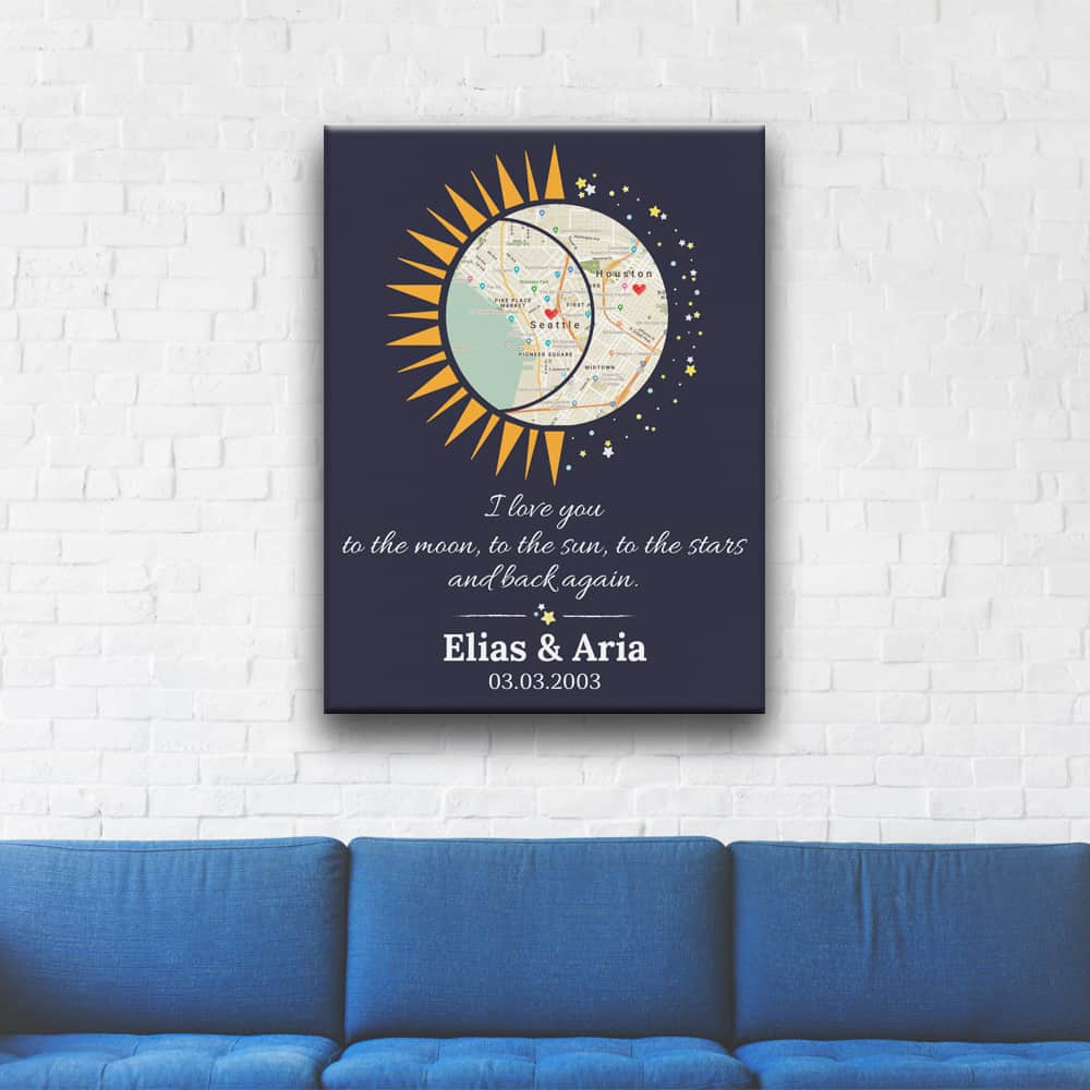 the sun and the moon canvas print with the quote I love you to the moon, to the sun, to the stars and back again