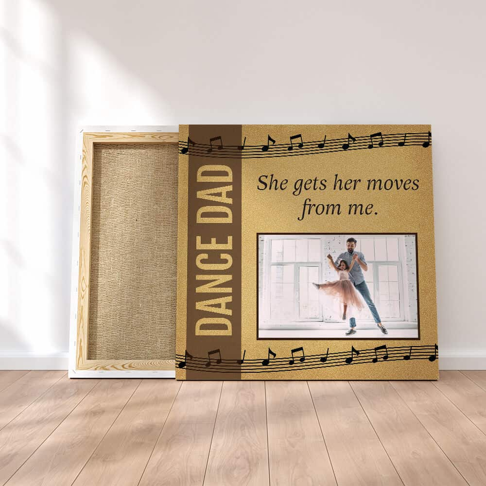 square photo canvas on the floor with the words Dance Dad