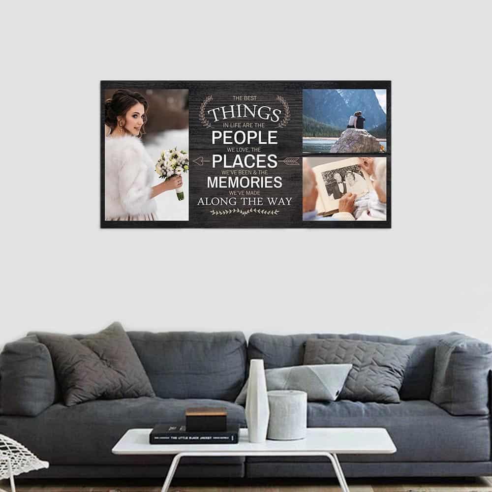 a big photo canvas print above the sofa