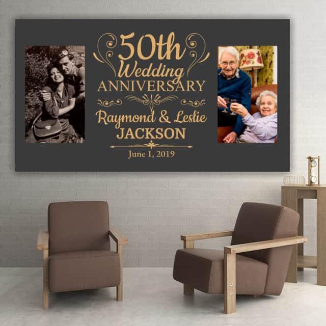 50th wedding anniversary gift, a custom photo canvas