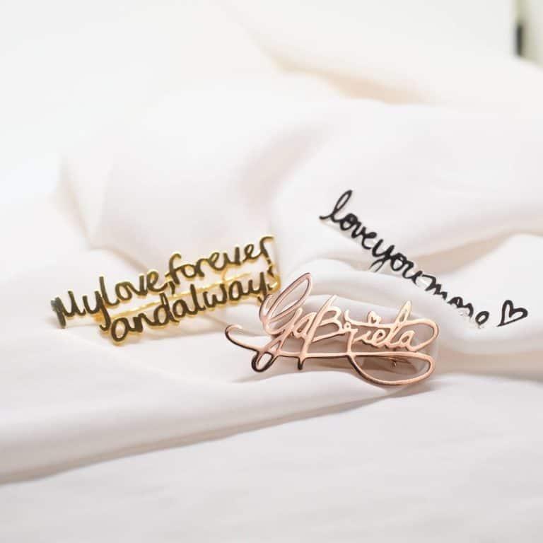 personalized gift for grandma: custom handwriting pin brooch
