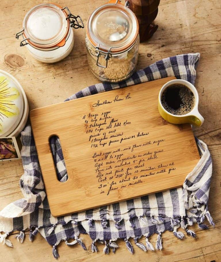 personalized grandmother gifts: cutting board with engraved recipe