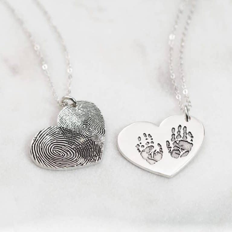gift for grandma: actual engraved fingerprint necklace