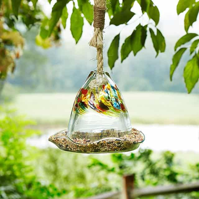 grandma gift idea: glass bird feeder