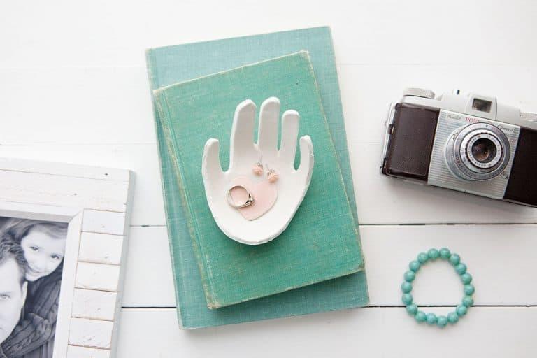 unique gift for grandma: child's handprint clay jewelry dish