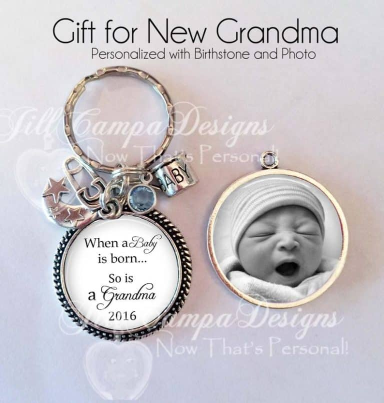 gift for new grandparents: custom keychain with baby's photo