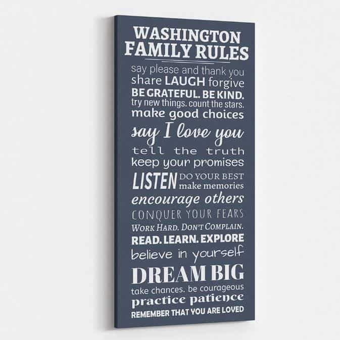 Family Rules Custom Canvas Say Please And Thank You-Great Big Canvas