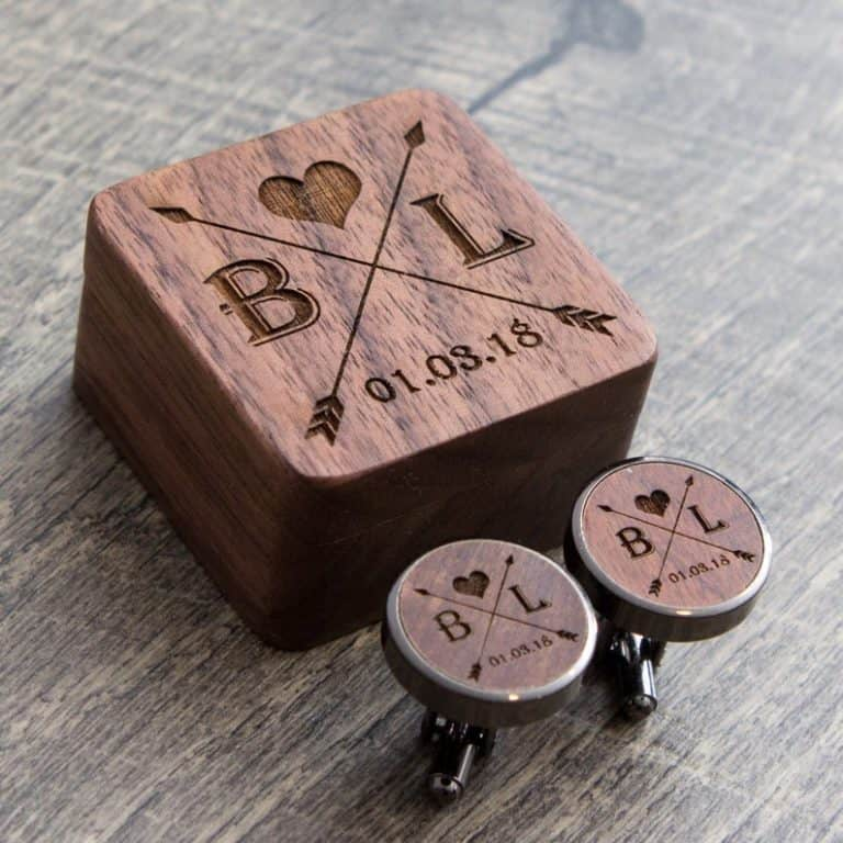 wood anniversary gift for him: personalized wooden cufflinks