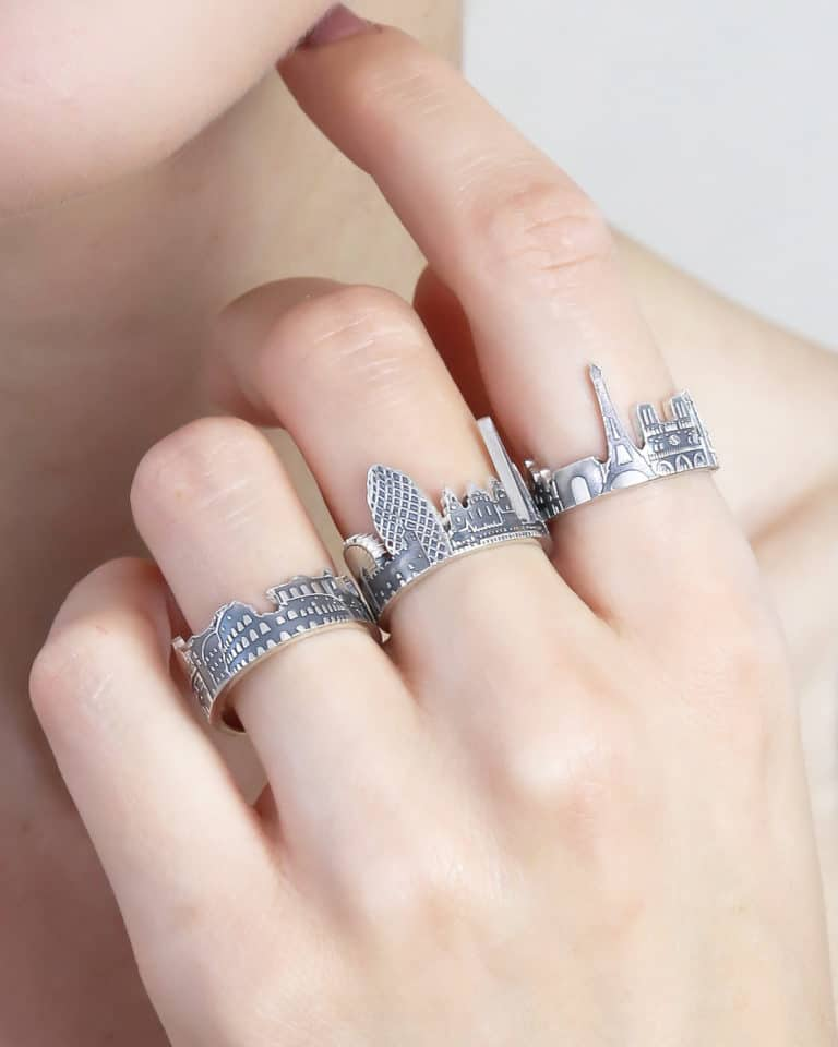 unique 5 year anniversary gift: cityscape rings