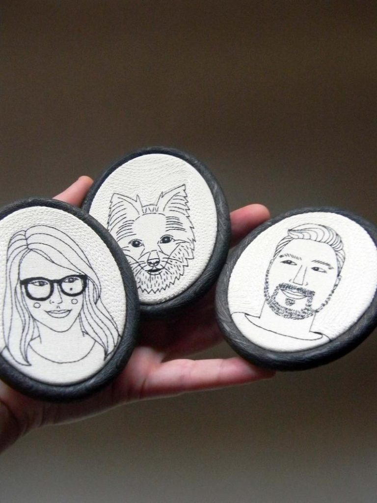 anniversary gift for her: custom embroidery family portrait
