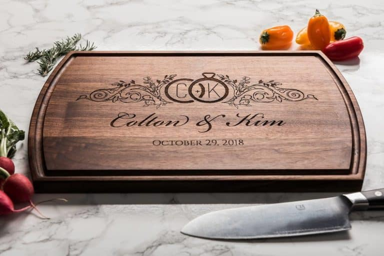 fifth anniversary gift idea: engraved cutting board