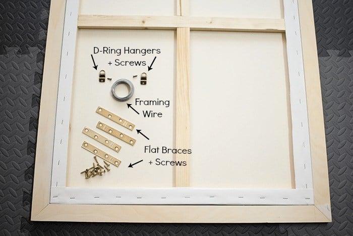 hanging materials flat braces and screws