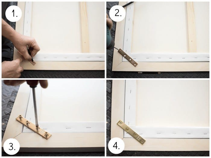 attaching flat braces on a canvas frame