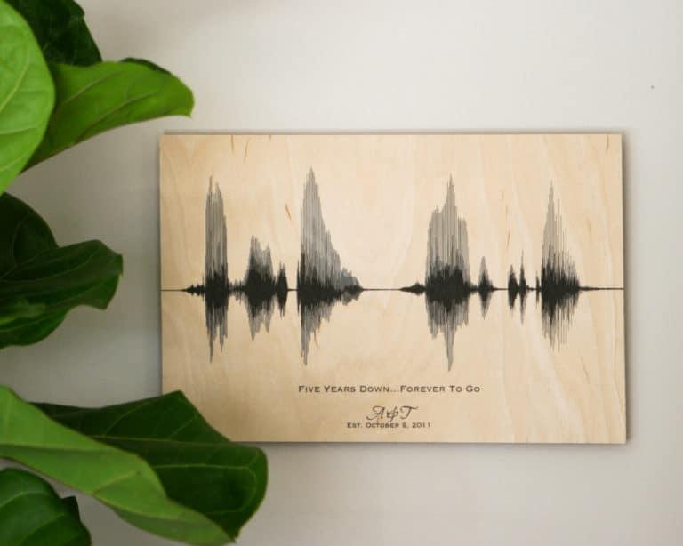 gift idea for 5 yr anniversary: sound wave art print