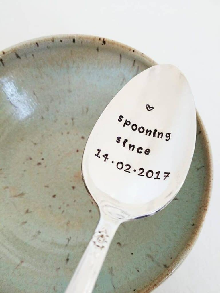 best fifth anniversary gifts for her: hand-stamped spoon