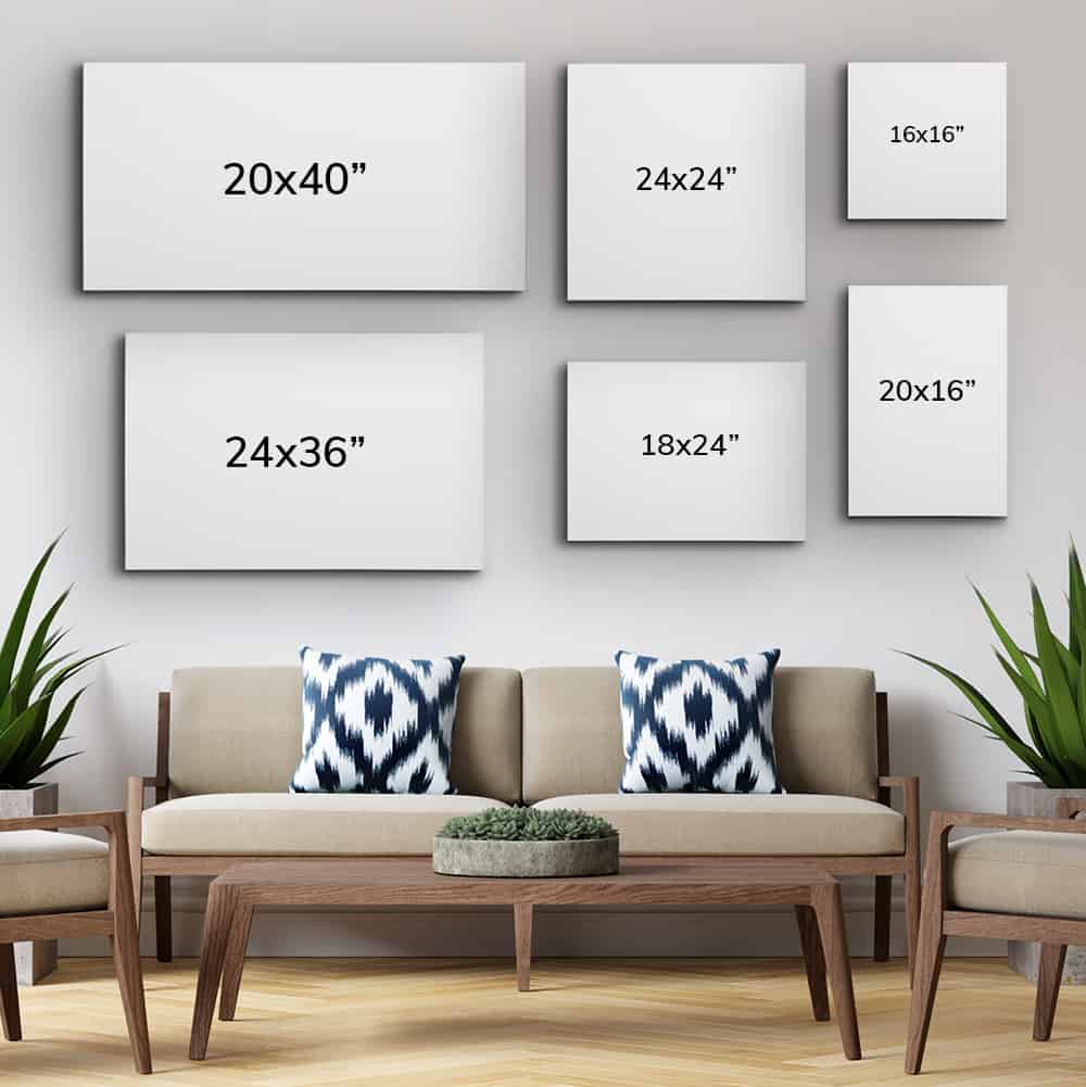 canvas sizes: wall art size guide for scale above couch