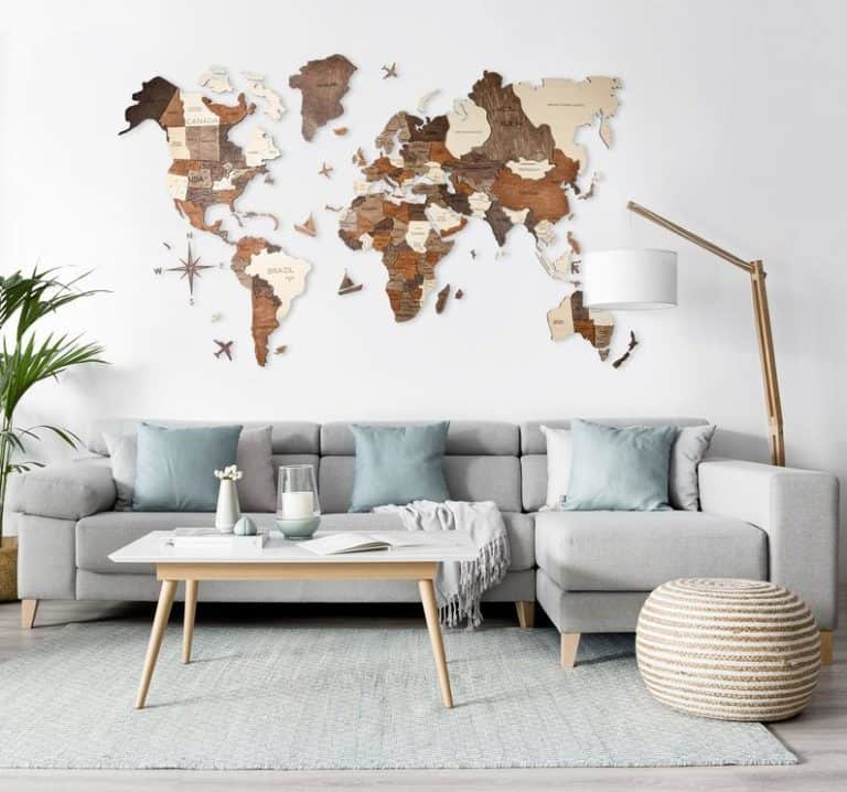 best 5th anniversary gift: wall wooden map