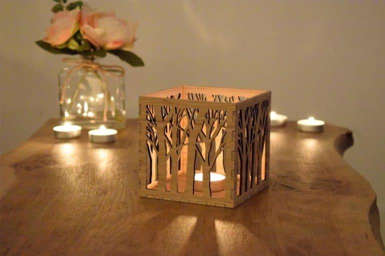 wood anniversary gift idea: wooden candle lantern
