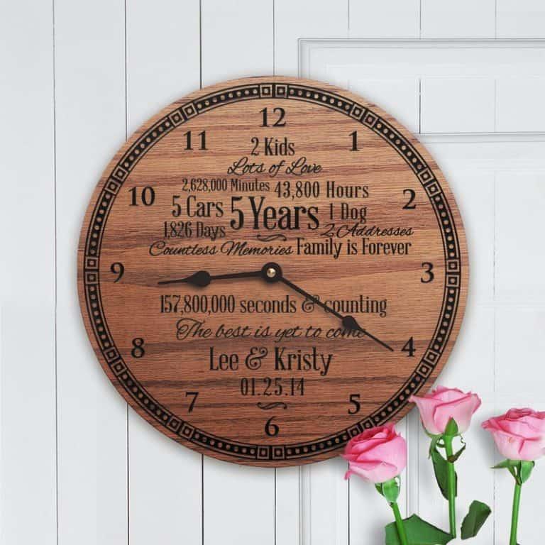 traditional five years wedding anniversary gift: custom wooden clock