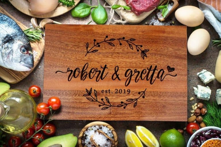 personalized anniversary gifts: custom cutting board