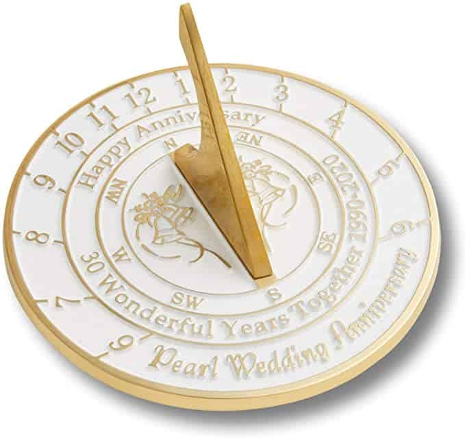 pearl gifts for 30th wedding anniversary - metal foundry sundial
