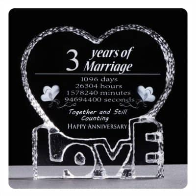 unique 3rd anniversary gifts for him:3rd Wedding Anniversary Crystal Sculpture