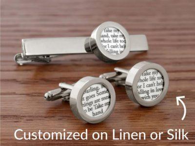 4th anniversary linen gift for him: custom cufflinks with song lyrics on linen