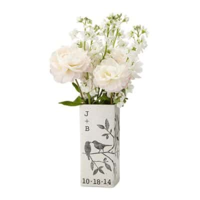 4 year anniversary gift for couples: Personalized songbirds vase