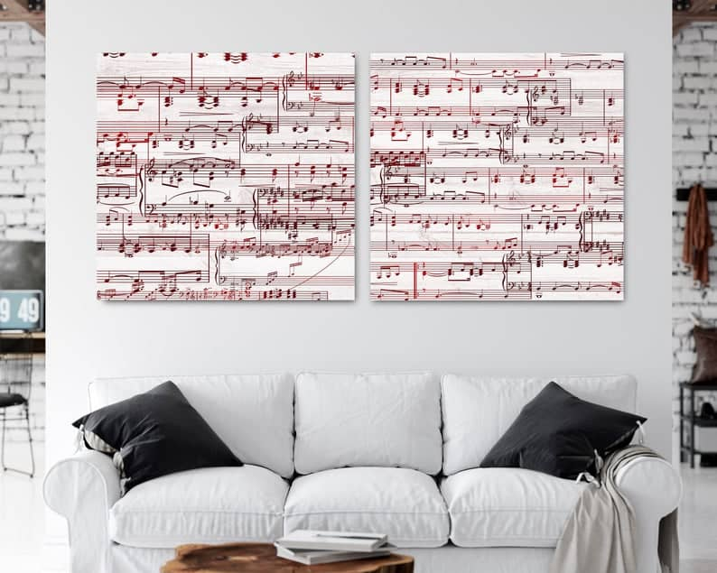 40th wedding anniversary gift for couples personalized sheet music art
