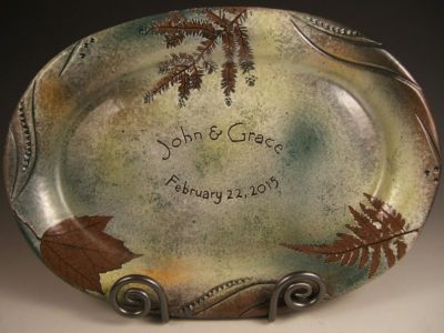 Personalized stoneware platter: vintage anniversary gift idea for couples