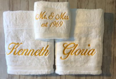 embroidered towel set - anniversary gift idea for couples