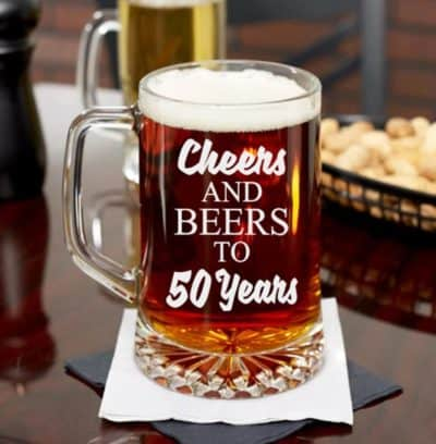 cheers and beers to 50 years mug - funny gift idea for him on 50 year annivesrary