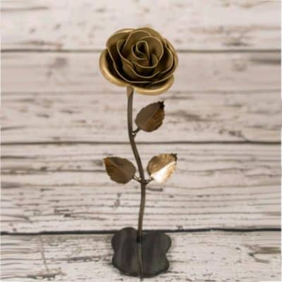 iron forged rose with gold spray - cool gift idea for 50th wedding anniversary
