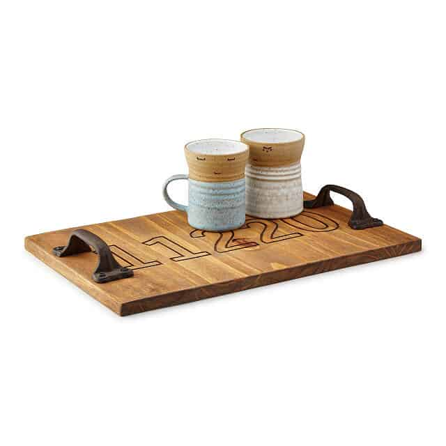 6th anniversary gift ideas for couples: personalized wood serving tray