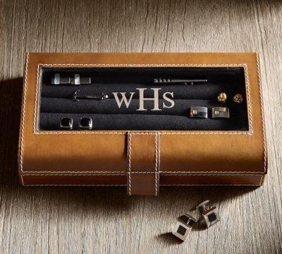 3 year wedding anniversary gift for him:Creative Leather Cufflink Box