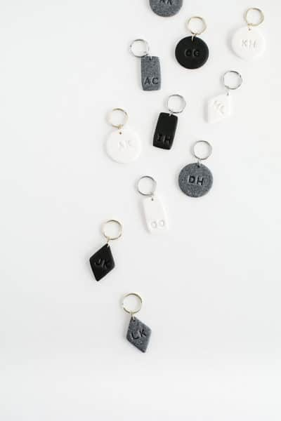 ceramic gifts: monogram clay key chains