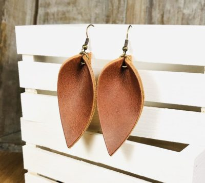 3 year anniversary gift ideas for wife:Leather Leaf Earrings