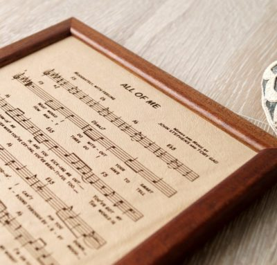 3 year anniversary gift ideas for her:Leather engraved music sheet
