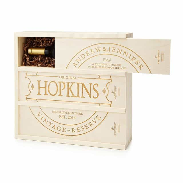 cool anniversary gift for couples: anniversary wooden wine box