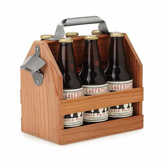 6th anniversary gift for men: wooden beer caddy with bottle opener