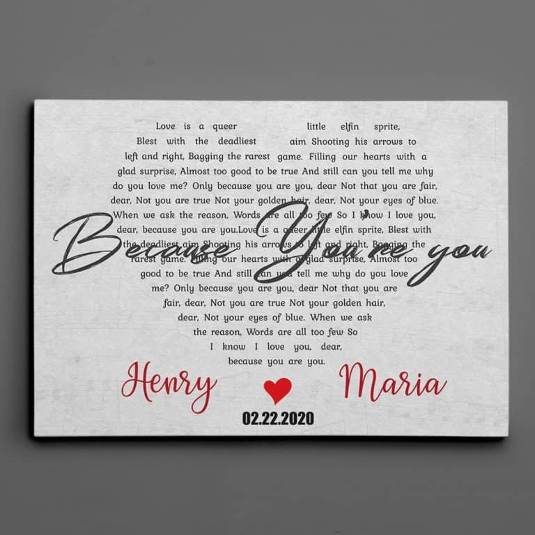 best gifts for couples: song lyrics custom canvas print