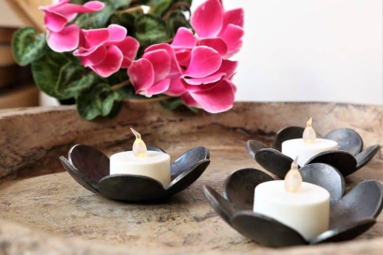 6th anniversary gift: hand forged iron candle dishes