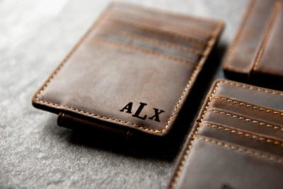 ninth anniversary gifts for him: leather magnetic money clip