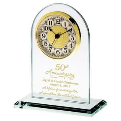 50th wedding anniversary gifts for parents: personalized glass clock
