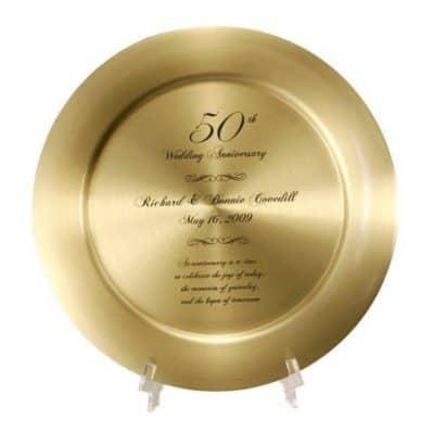 50th wedding anniversary gift: custom gold brass plate