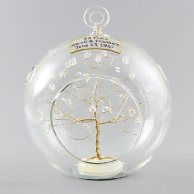 50th wedding anniversary gift: personalised gold crystal Christmas ornament