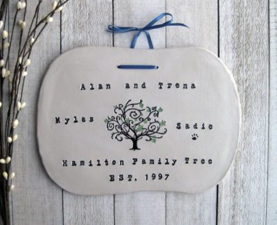 9th wedding anniversary traditional gift for couples: personalized ceramic family name sign