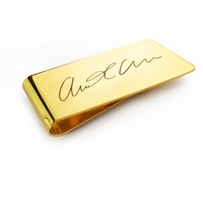 practical 50th wedding anniversary gifts for men: personalized gold metal money clip