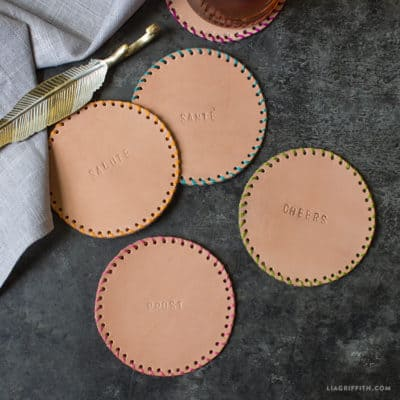 modern nine year anniversary gift: stamped leather coasters