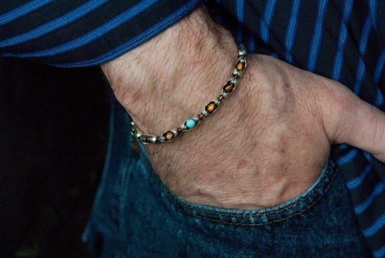 6th anniversary gift for husband: tiger eye & turquoise bracelet